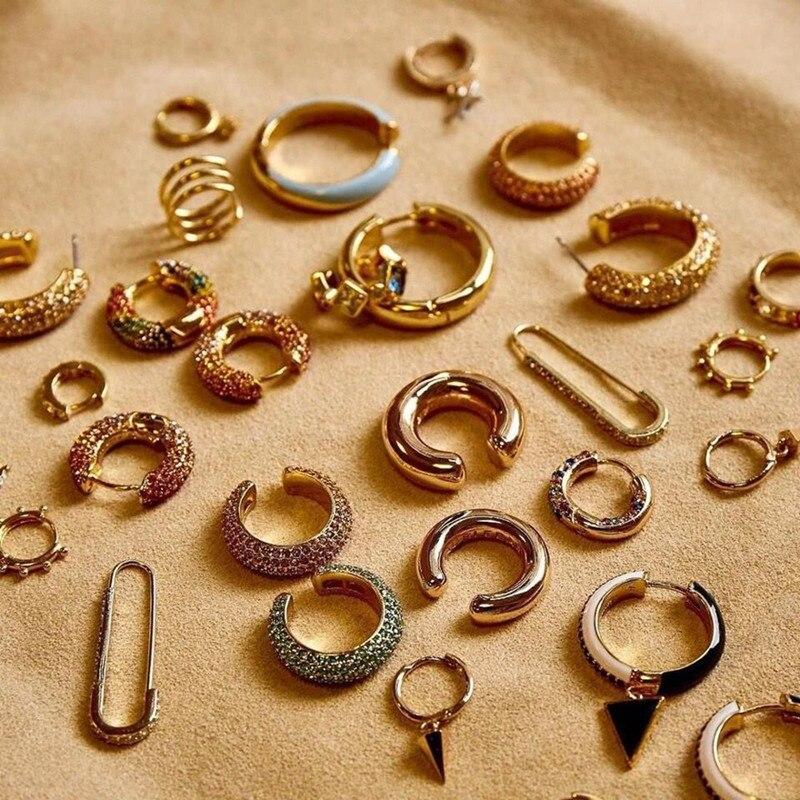2020 nueva moda Boho de diamantes de imitación de cristal de Metal gemelos de perla para oreja apilable brazalete juego de pendientes para mujeres joyería DE LA DECLARACIÓN
