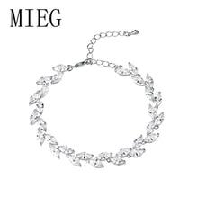 MIEG Brand Hoge Kwaliteit Marquise Cut Cubic Zirconia Cz Bladvorm Tennis Bridal Armband voor Bruid Party