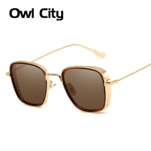 Vintage Square Oversized Sunglasses Men Women Metal Frame Brand Designer Sun Glasses Male Alloy Wrap Punk Eyewear Goggle UV400