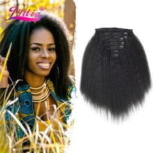 Lydia 8Pcs /Set With18Clips-In Synthetic Kinky Staight Hair Extensions Long Heat Resistant Hair-Pieces16-20 Inches Afro American