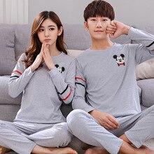 Dessin animé Mickey Couple pyjama ensembles hiver rayé chemise femmes Pyjamas grande taille maison vêtements de nuit hommes salon Pijama Mujer