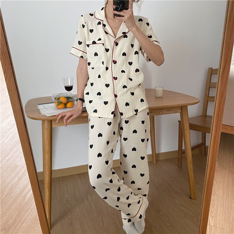 Пижамный комплект женский с коротким рукавом, хлопковая одежда для сна, Удобный домашний костюм с принтом сердечек, креп, весна-лето