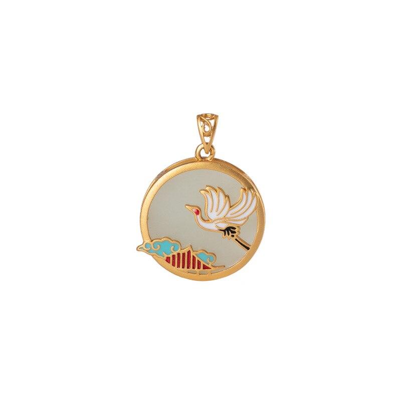 S925 sterling silver Cloisonne Gold plating Hetian jade Pendant Retro Chinese style Xiangyun White Crane Women's pendant