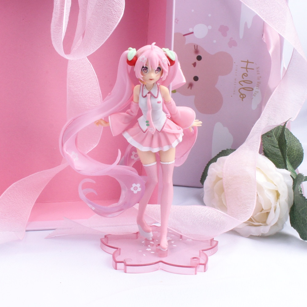 14cm Anime Pink Sakura Action Figures Toys Girls PVC Figure Model Toys Gift