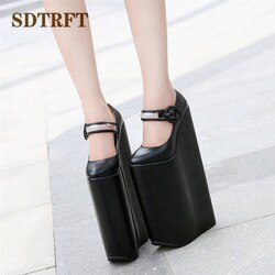 Sdtrft crossdresser stilettos cosplay único lolita dedo do pé redondo sapatos femininos 30cm ultra salto alto plataforma cunhas gótico punk bombas