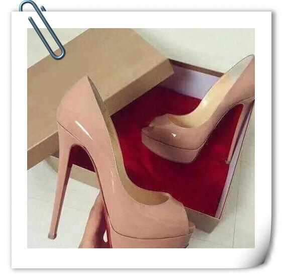 Sapatos de Plataforma Sapatos de Noiva com Caixa Nova Marca Mulher Peep 14cm Salto Alto Bombas Sexy nu Sapatos Femininos Moda Casamento Toe