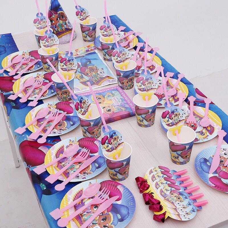 158/95 stücke Schimmer Und Glanz Kinder Geburtstag Party Favor Einweg Dekorationen Geschirr Liefert Tasse Serviette Stroh Blowout Hut