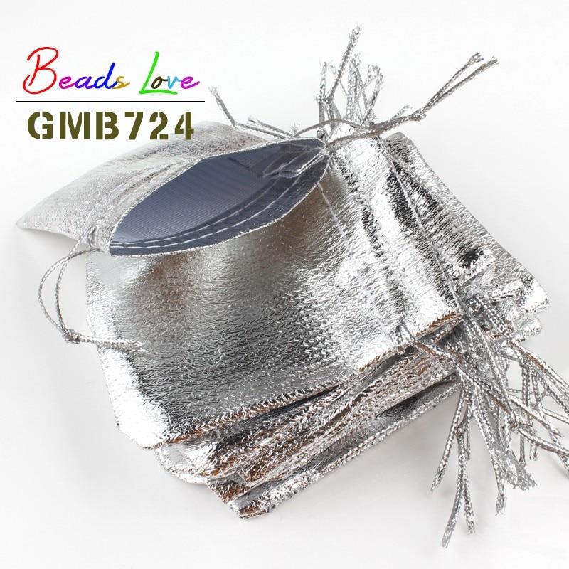Lote de 50 bolsas de tela plateadas de 7x9cm, 9x12cm, embalaje de joyas de Organza, bolsas de regalo de terciopelo con cordón y bolsas de regalo de boda
