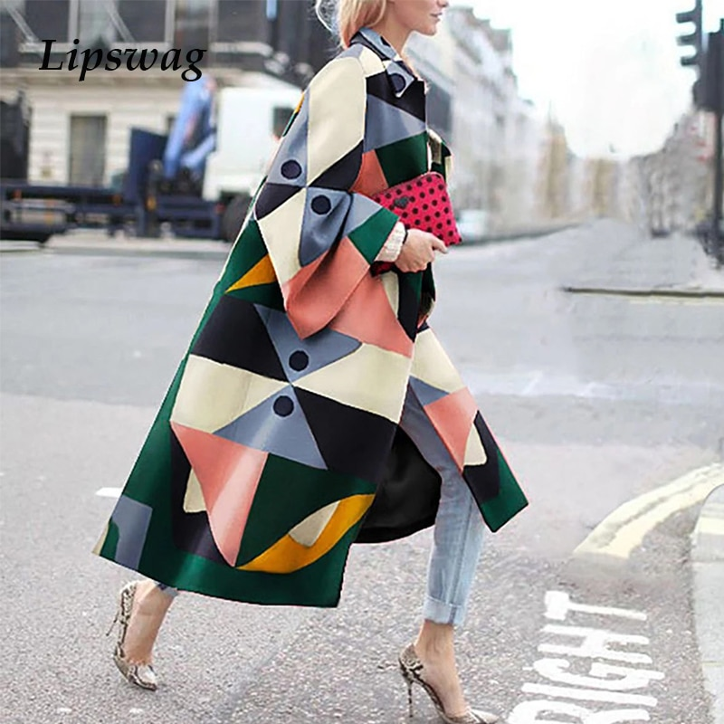 Autumn Vintage Colorful Block Print Women Long Coat 2020 Fashion Long Lantern Sleeve Jacket Plus Siz