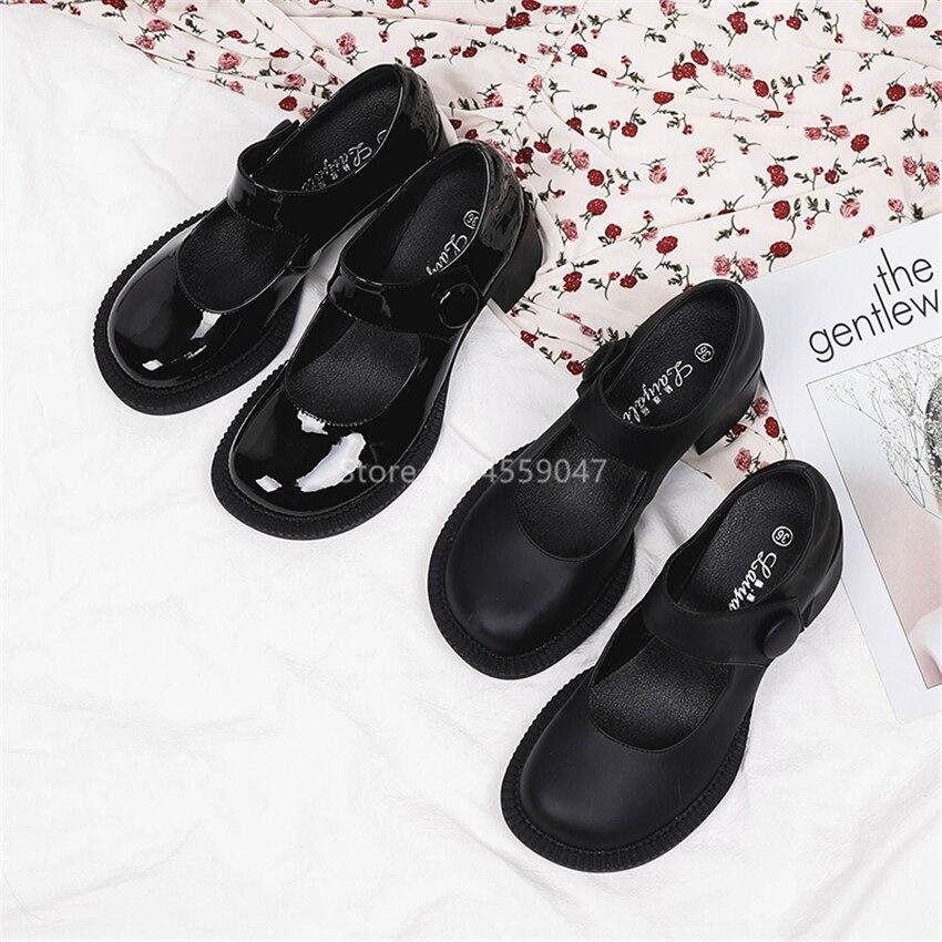 حذاء ماري جين لوليتا ياباني للنساء ، حذاء موحد Jk ، منصة عالية ريترو ، Harajuku ، أسود ، قوطي ، مشبك رأس دائري