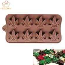 8 trou antiadhésif feuille de Marijuana Silicone moule herbe Pot feuille chocolat moule chanvre Fondant/érable feuilles Silicone moule pour la cuisson 136