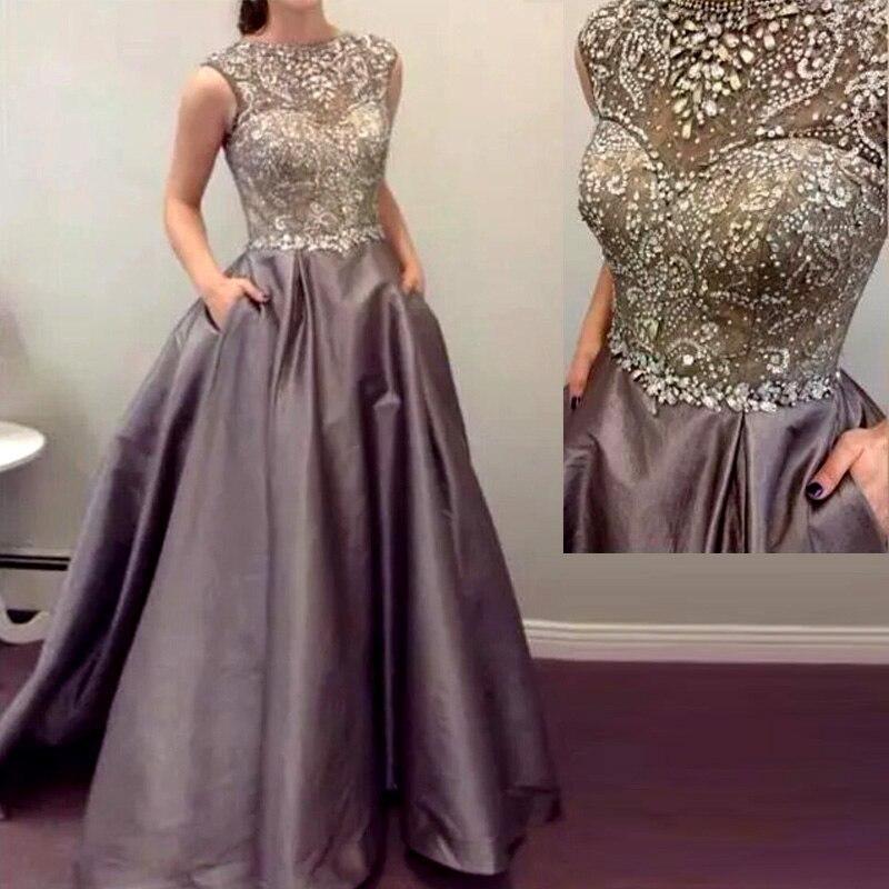 Vestido de baile hecho a mano con cuentas de cristal de noche para fiesta de graduación vestido de noche 2018 de hombro de la madre de la novia vestidos