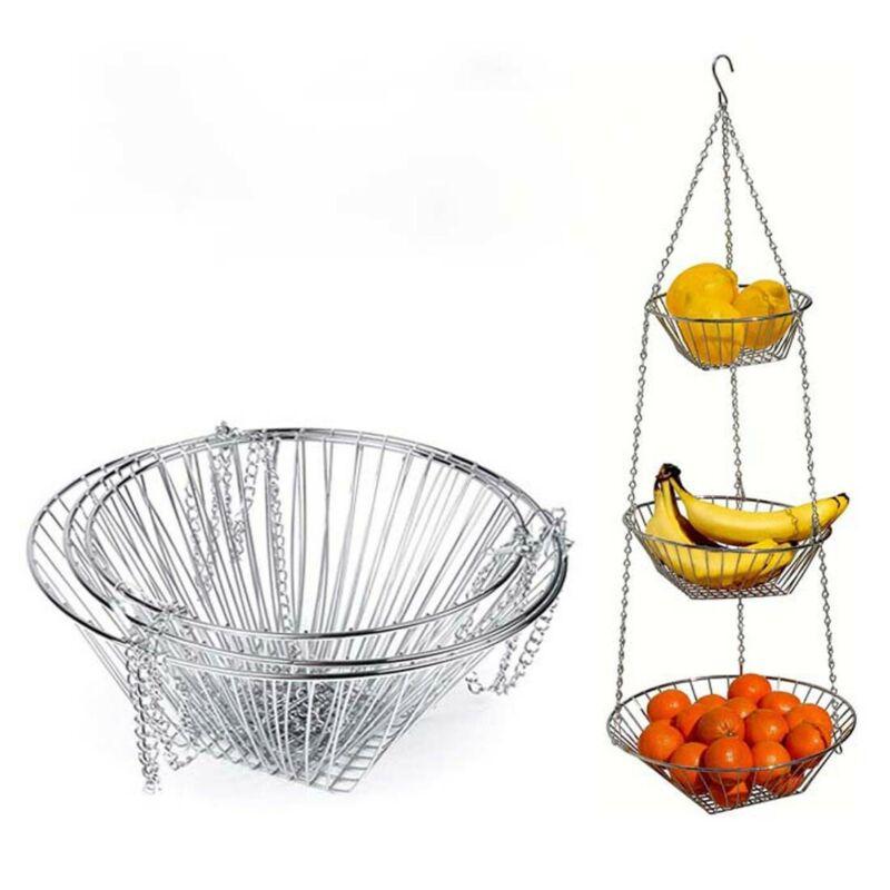 Neueste 3 Tiers Draht Kette Hängenden Korb Obst Anlage Lebensmittel Veranstalter Küche Lagerung Schmiedeeisen Obst Hängenden Korb
