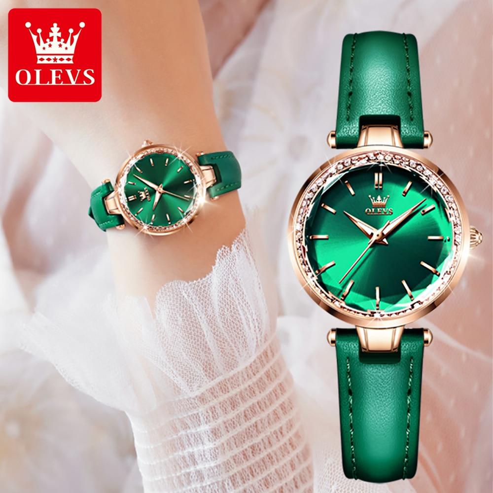 OLEVS بسيطة فاخرة العلامة التجارية السيدات ساعة 50 متر مقاوم للماء حزام من الجلد السيدات ساعة ساعة كوارتز سوار أنيق Reloj Mujer 2021