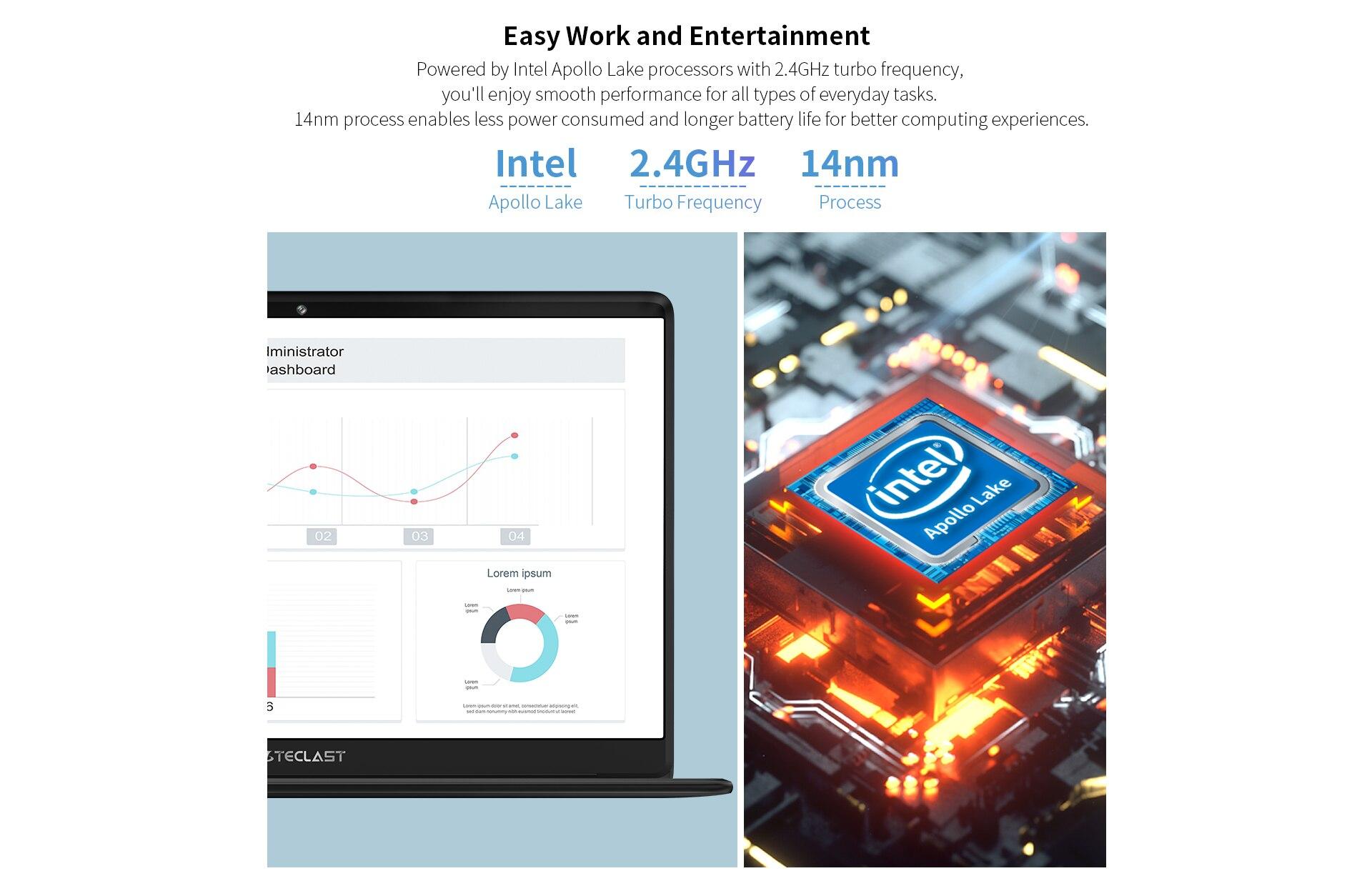 Teclast F6 Laptop Intel Gemini Lake N3350 8GB RAM 128GB SSD Windows10 13.3