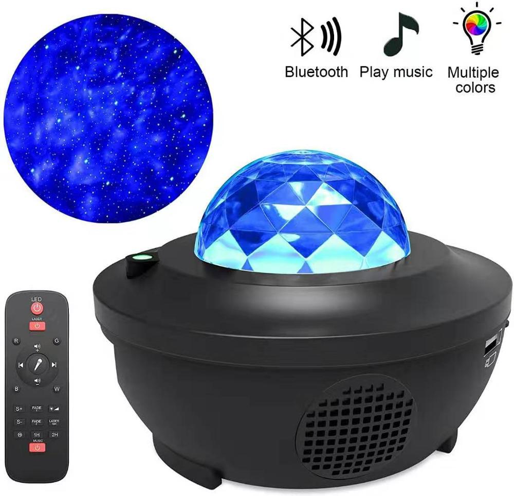 LED Galaxy Projector Ocean Wave LED Night Light Music Player Remote Star Rotating Night Light Lumina