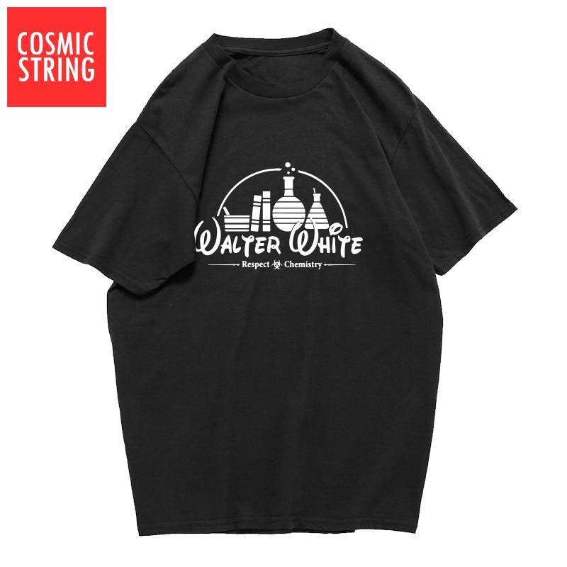 COSMIC STRING de alta calidad 100% algodón de manga corta fresco walter blanco imprimir hombres camiseta casual heisenberg hombres Camiseta Hombre