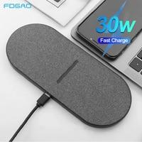 2 в 1 30 Вт двойное сиденье Qi Беспроводное зарядное устройство для Samsung S20 S10 двойная Быстрая зарядка Pad для iPhone 12 11 XS Max XR X 8 Airpods Pro