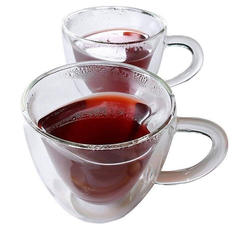 شحن مجاني القدح طبقة مزدوجة البورسليكات الزجاج فنجان شاي زوجين على شكل قلب فنجان القهوة 1cup