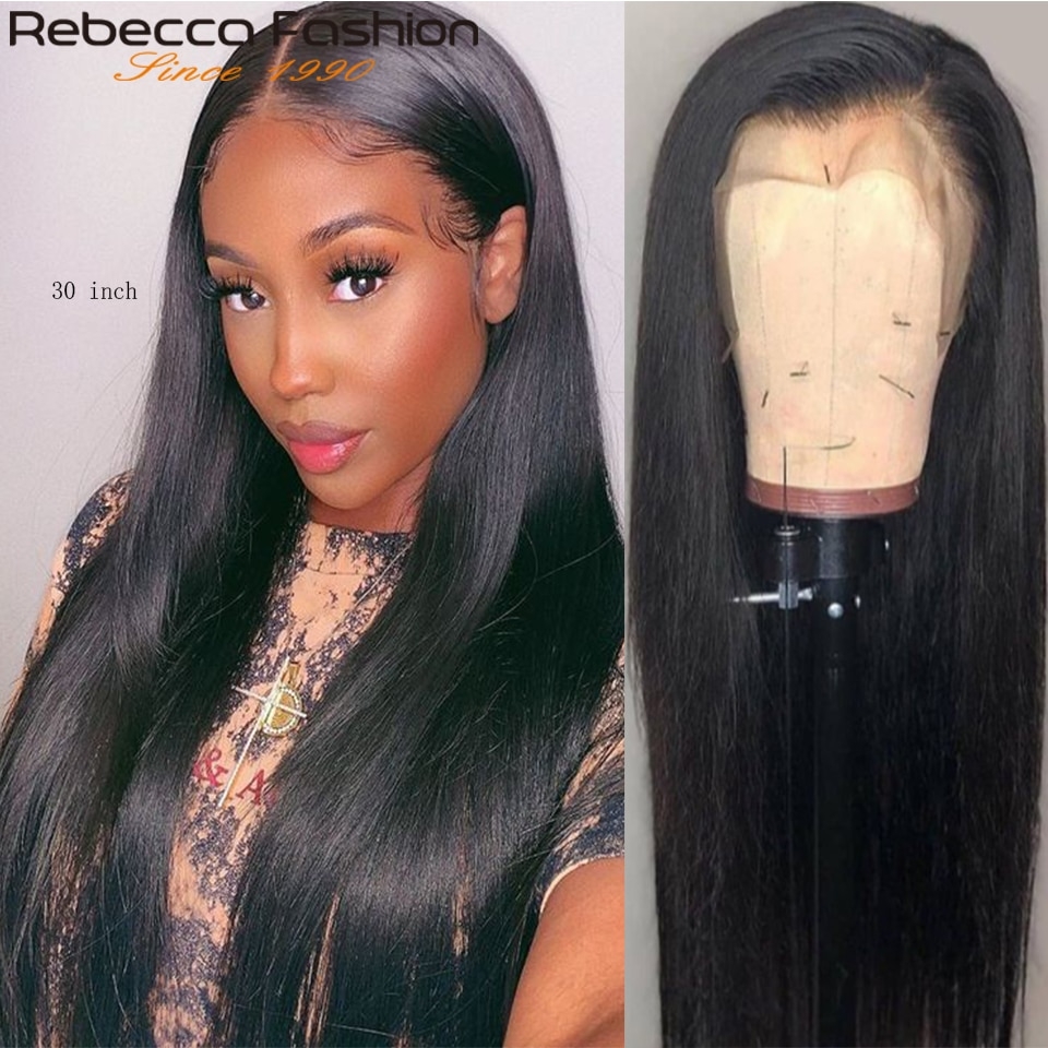 Rebecca 360 Lace Frontal Wig Straight Human Hair Wigs for Women 13x4 Frontal Wig Long Straight Closure Wig Remy Hair 30 inch Wig