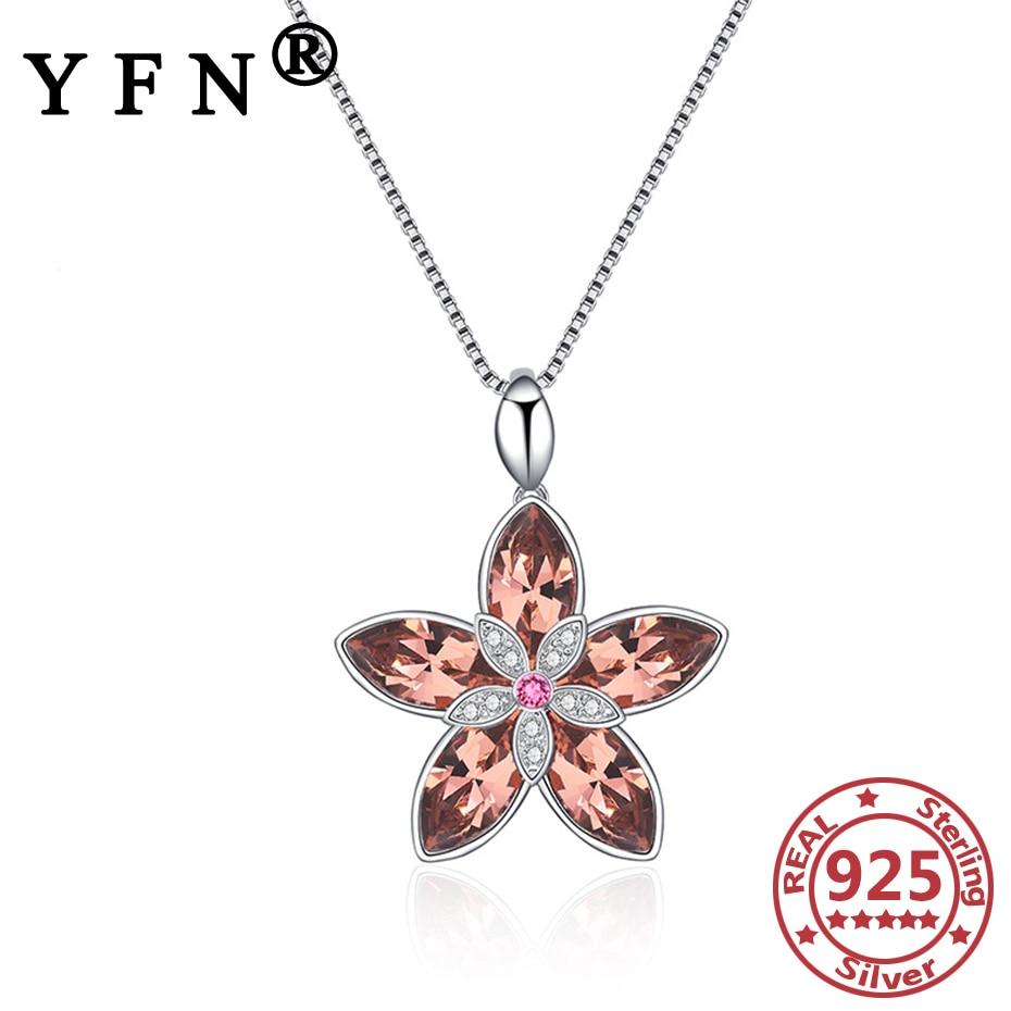 Collar con colgante de flores de cereza de Plata de Ley 925 YFN, joyería Cristal de Swarovski para mujer, regalos para el Día de San Valentín, regalos para mamá