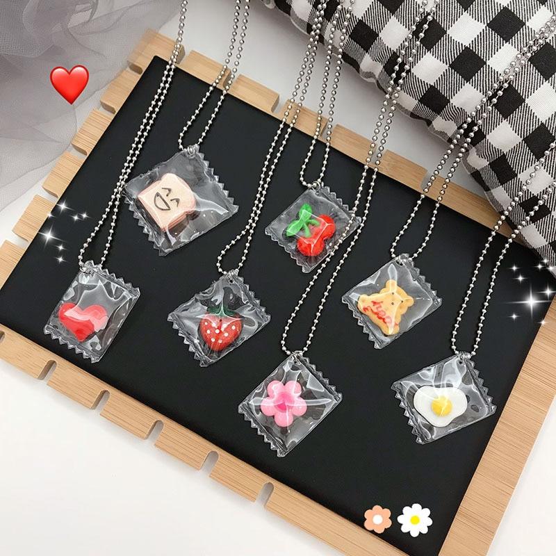 HZ 2019 Korean Lovely Cartoon Flower Bear transparente acrílico aleación cadena larga metálica Collar para Mujeres Hombres joyería gótica regalos