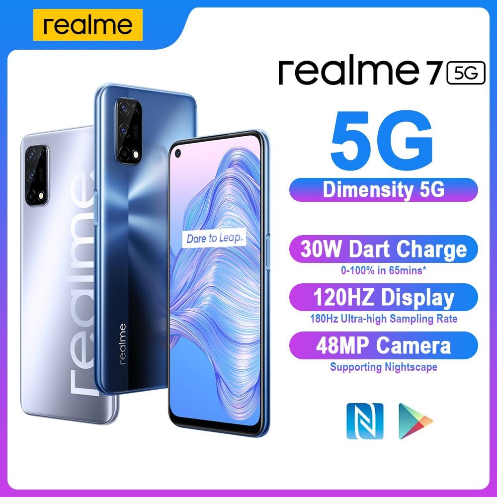 Realme 7 5G смартфон NFC Dimensity 800U 6 ГБ/8 ГБ 128 20 Гц Дисплей 48MP Камера 5000 мА/ч, 30W Дротика зарядка смарт мобильный сотовый телефон