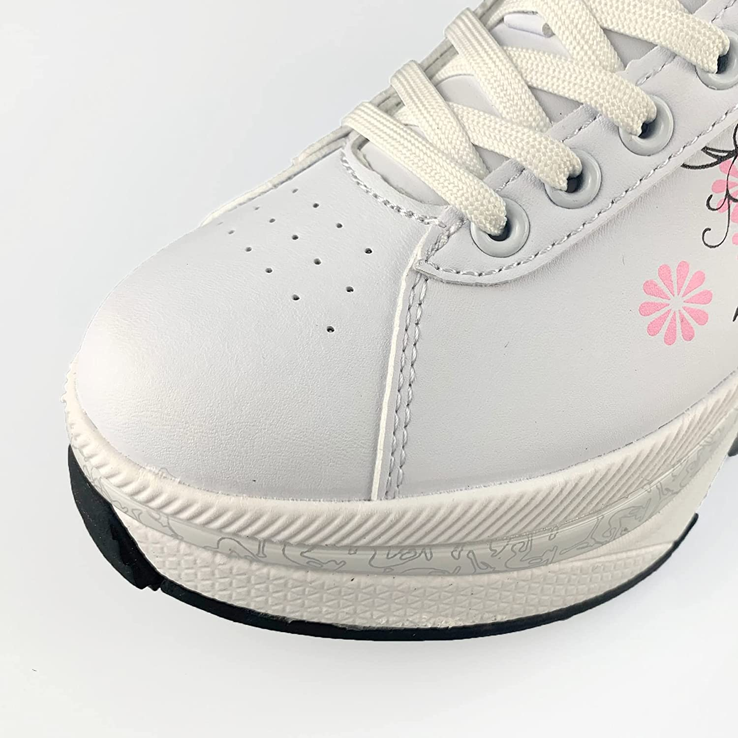 2021 Leather Pink Roller Skates Deformation Shoes with 4 Wheels Adults Unisex Casual Shoes Children Skates Double Wheel Shoes enlarge