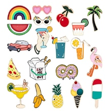 Food Fruit Animal Collection Enamel Pins Beach Holiday Brooch Jwewlry Denim Clothes Bags Gift for Fr