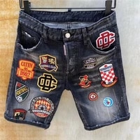 summer new style dsquared2 jeans fashion washed frayed embroidery badge slim shorts mens five point pants