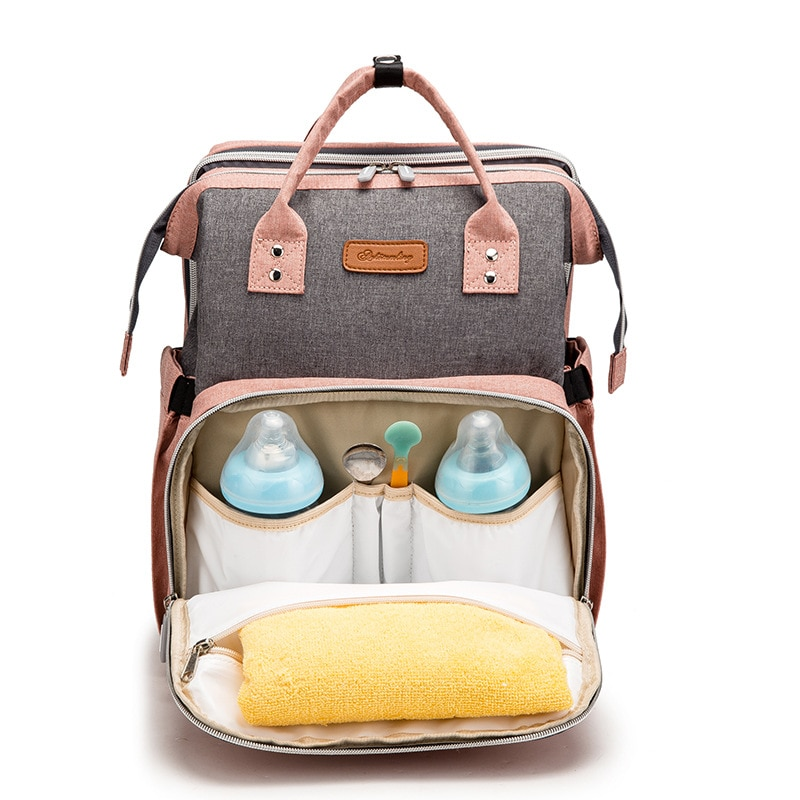 Mommy Bag with Awning Folding Large Capacity Diaper Backpack Multifunctional Baby Bed Bags Handbag Stroller Bag with Hooks Bag