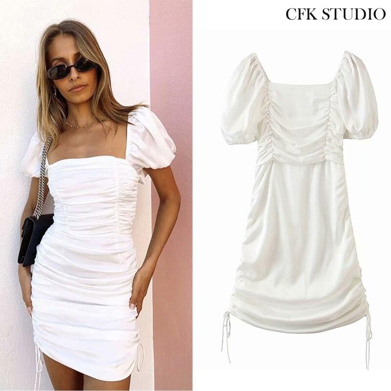 Za-minivestido blanco de manga corta, mujer, monocolor, elegante, con cuello cuadrado, minivestido blanco