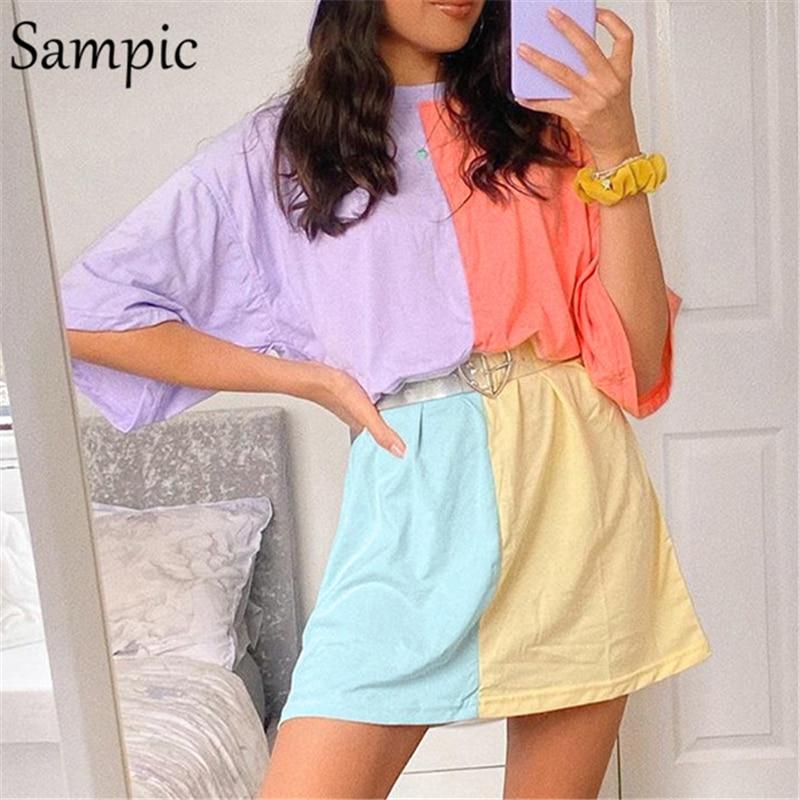 Sampic moda verano Casual mujer O cuello Patchwork manga corta Camiseta de gran tamaño Tops camiseta mujer 2020