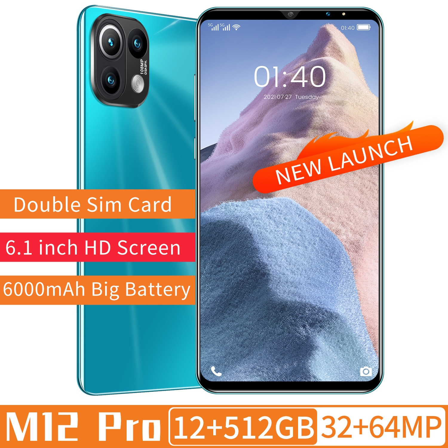XIAO M12 Pro Smart Phone 12GB+256GB 32+64MP 6.1 Inch 6000mAh Deca Core Andriod 11 Face ID Mobile Cell Phone MTK6889 Celular
