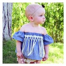 2020 Fashion New Summer T Shirt Baby Girl Denim Short Sleeve Toddler Clothes Word Collar Tassel Pendant Tube Tops Camisa Bebe
