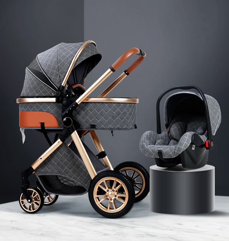3 in 1 baby stroller Luxury High Landscape baby pram portable baby pushchair kinderwagen Baby Bassin
