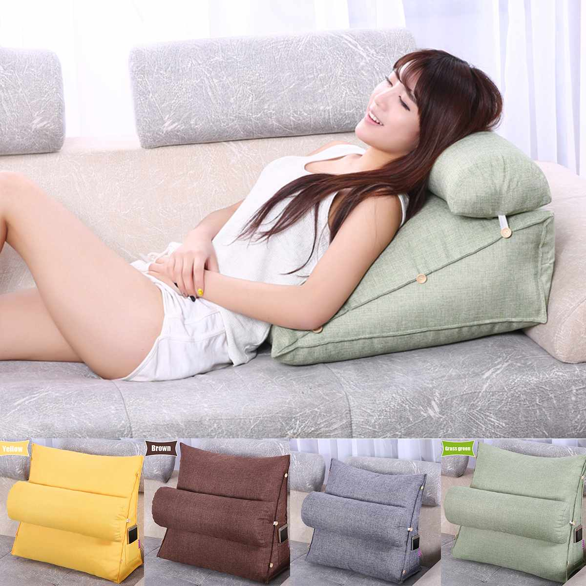 Треугольная диванная подушка задняя подушка спинка кровати Подушка для офисного стула поддержка талии подушка лежак ТВ чтение поясничная ...
