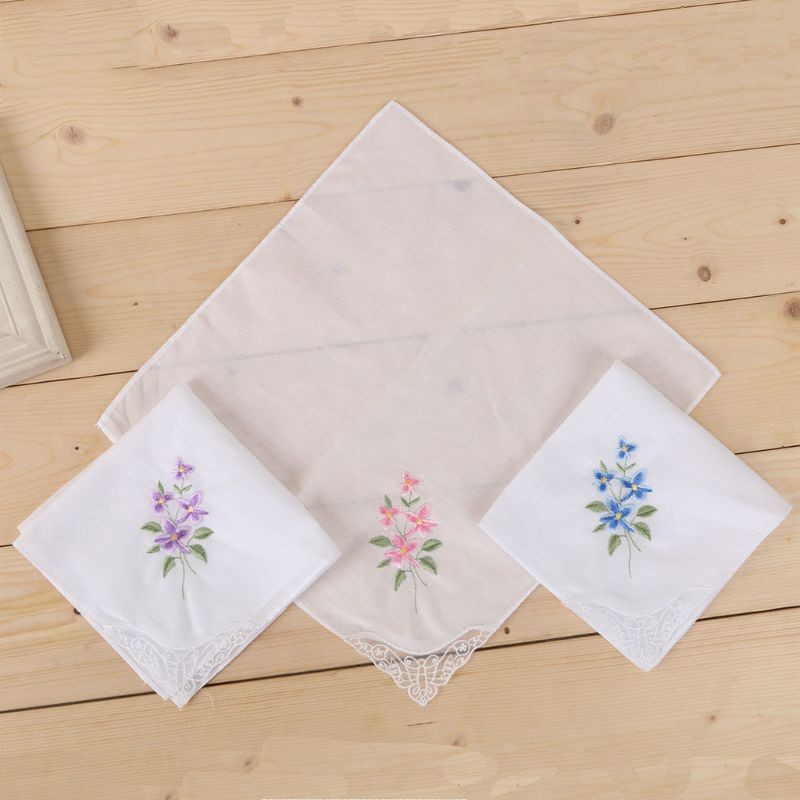 3 unids/set 3 unids/set Pañuelo cuadrado blanco básico de mujer Floral bordado pañuelo de bolsillo mariposa encaje algodón Baberos portátil