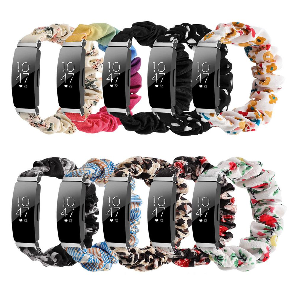 Elastic Fabric Band for Fitbit Inspire Women Girls Woven Strap Scrunchies Watch Band for Fitbit insp