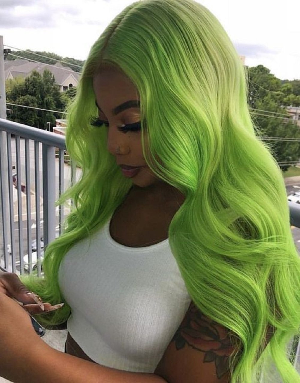 Green Body Wave Virgin Human Hair Green Body Wave Lace Front Wigs for Women 180 Density