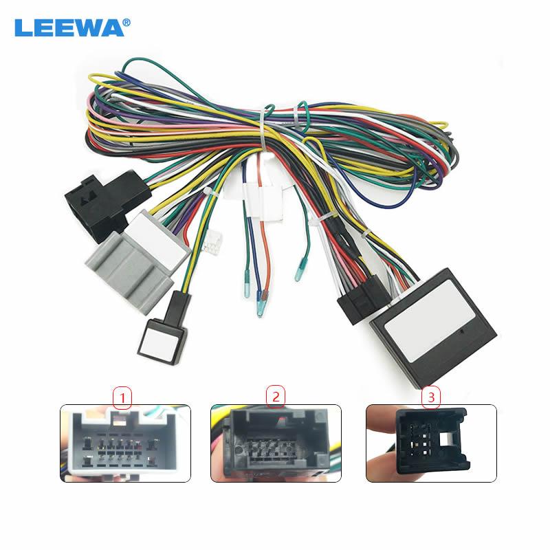 LEEWA de Audio de coche Radio DVD Android 16PIN Adaptador de Cable de alimentación con caja de Canbus para Ford Fiesta arnés de cableado de energía # CA6471