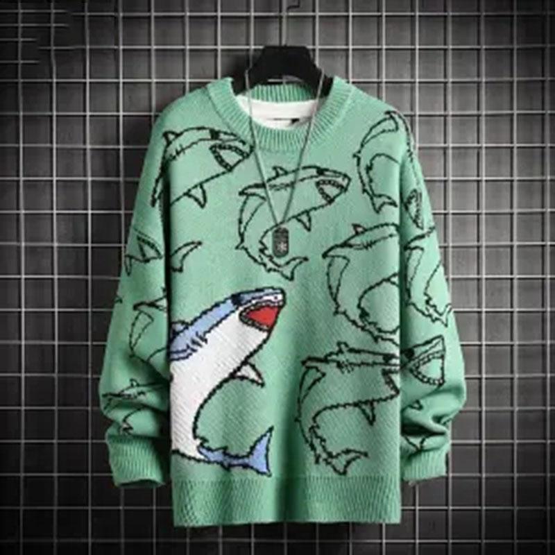 Черный вязаный свитер, Мужская зимняя одежда, мужской пуловер, мужской свитер с рисунком маленького монстра, пуловер для пар 2020