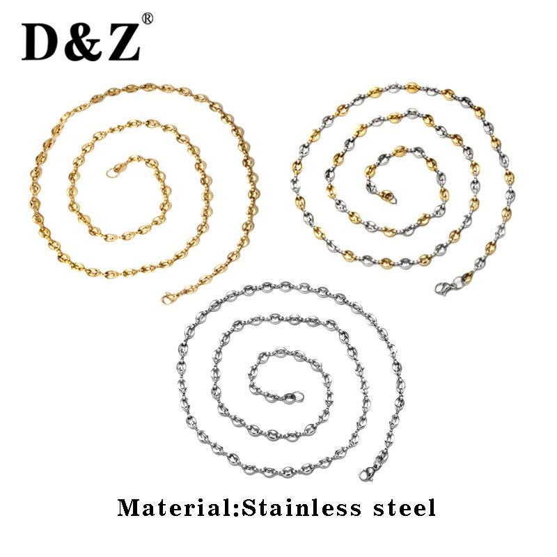 D & Z, collar de cadena de granos de café de acero inoxidable de 5mm, collar de gargantilla de cuentas redondas de 3 colores para hombres, accesorios