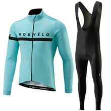 2020 Pro team Morvelo manga larga ciclismo Jersey pantalones conjunto ciclismo ropa carretera bicicleta Jerseys ropa Bib pantalones trajes