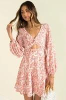 new floral print womens autumn v neck long sleeve dresses women fashion short dress vestido feminino donsignet