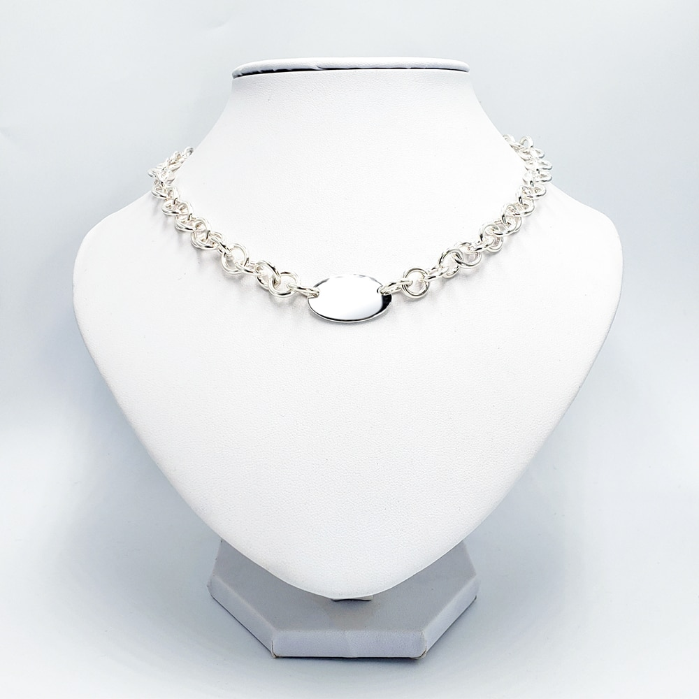 1:1 925 Sterling Silver Necklace Women's Classic Double Hole Oval Tag O-Chain Necklace Personality All-Match Jewelry Gift