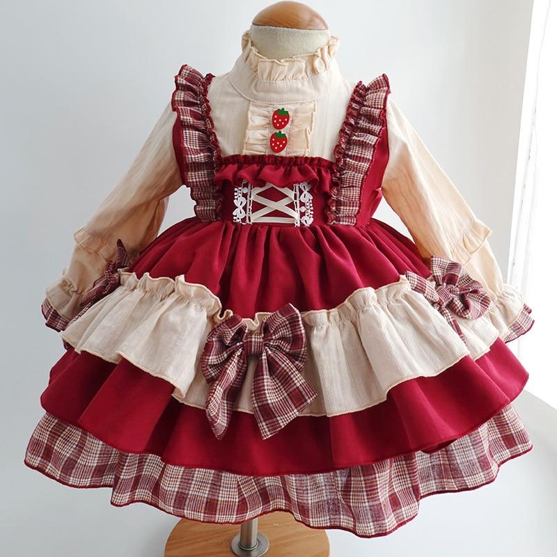 فستان الأميرة الإسبانية مع ربطة عنق للبنات ، فستان أحمر عتيق مع توتو ، أكمام طويلة ، للحفلات أو الزفاف ، لعيد الميلاد