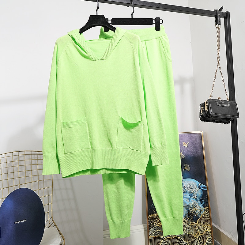 2020 primavera nuevo conjunto de punto de las mujeres con capucha de seda de hielo suéteres de punto + Pantalones casuales de dos piezas conjunto de chándales de las señoras D3660