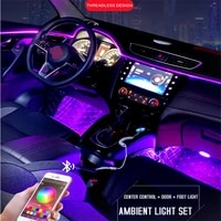 led car interior ambient foot lights 8m 1 in 10 el neon strip light rgb multiple mode app sound control auto decorative lamp 12v