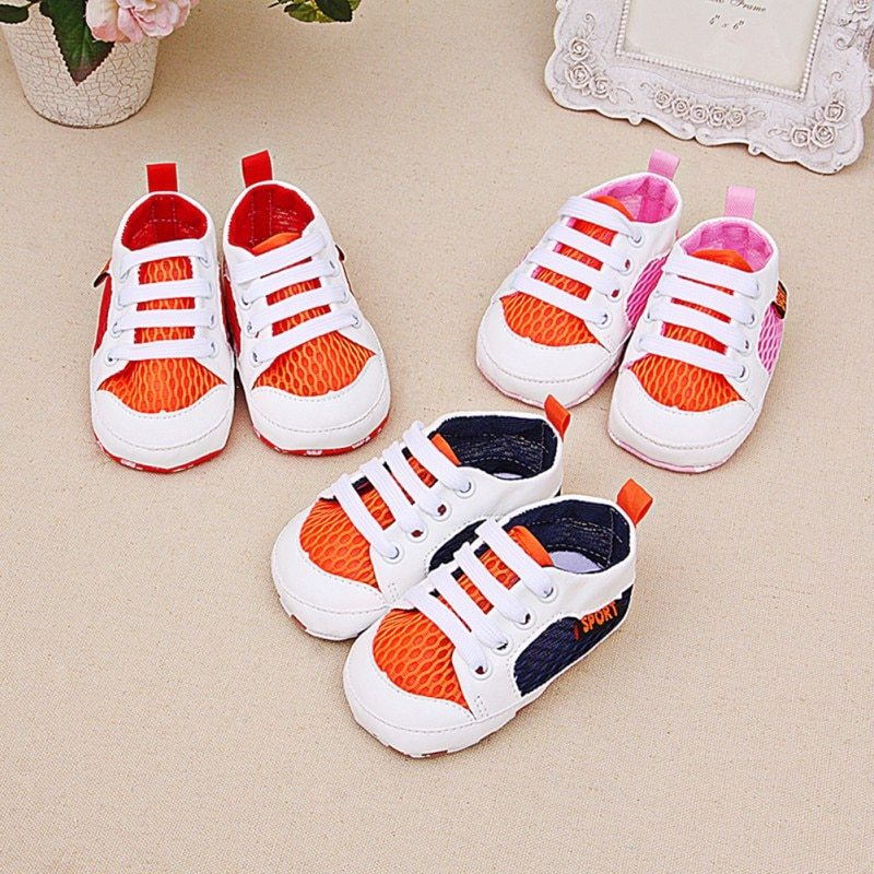 Baby Boys Girls Prewalkers Mesh Round Head Lace-up Shoes Soft Sole Anti-slip Shoe Sneakers Casual Sh